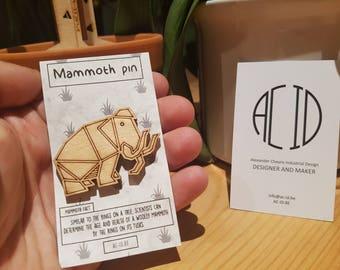 Geometric Mammoth Brooch/pin | wooden lasercut jewelry