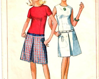 Simplicity 6455 Teen Drop-Waist Dress w/ Inverted Front Pleat and Hip Belt Sewing Pattern Size Junior 11 Vintage 1960s