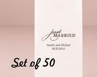 Personalized Wedding Kraft Bag - Just Married - Wedding - Wedding Favor Bag - Goodie Bag - Set of 50 - Colored Paper Bag - Favor Bag