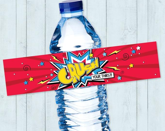 Superhero Water Bottle Label, Superhero Party, Superhero Party, Superhero Birthday   DIY Instant Download PDF Printable