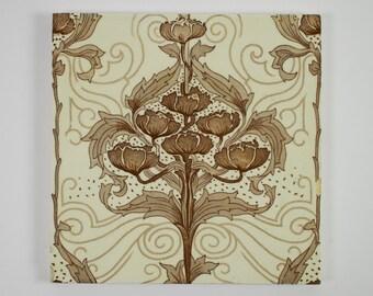 Antique Minton Art Nouveau pottery tile Design Registration no. for 1898