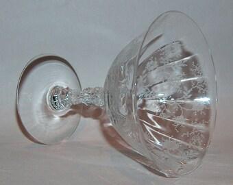 p7866: Fostoria Chintz Etch 338 Champagne Sherbet Glass Pillar Optic Stem 6026 Vintage Elegant Glass at Vintageway Furniture