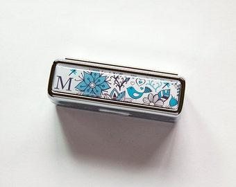 Monogram Lipstick Case, lipstick case with mirror, Lipstick case, lipstick holder, Personalized case, custom gift, blue monogram (6178)