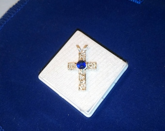 Cross with Kyanite Sapphire Blue Gemstone, Sterling Silver Cross with Natural Faceted Kyanite Gem