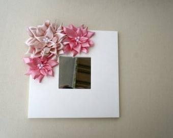 Mirror with Kanzashi flowers