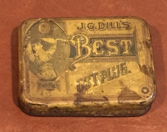 Antique Vintage J.G. Dill's Cut Plug Tobacco Advertising Tin