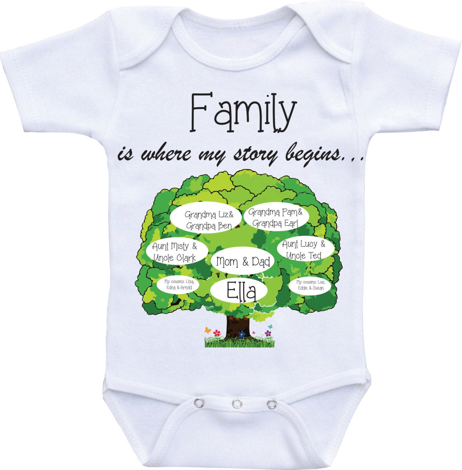 Family tree onesies unique baby onesie personalized custom zoom negle