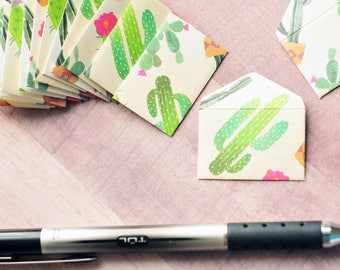 Tiny Cactus Love Notes // Set of 10 // Blank Cards // Tiny Note Cards // Desert // Succulent // Ephemera // Decoration // Scrapbooking