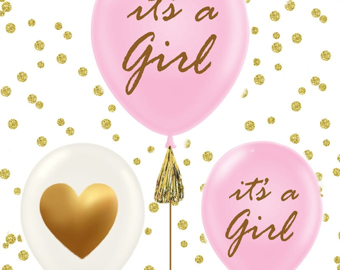 It's a Girl, It's a Boy baby shower balloons, set of 3 gold baby shower balloons, gold baby shower decorations, pink and gold, blue and gold