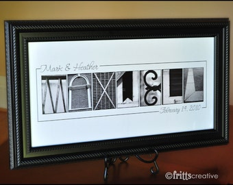 WEDDING GIFT Personalized Name Wall Decor in  Alphabet Photography Black and White Name  Print  (Unframed)