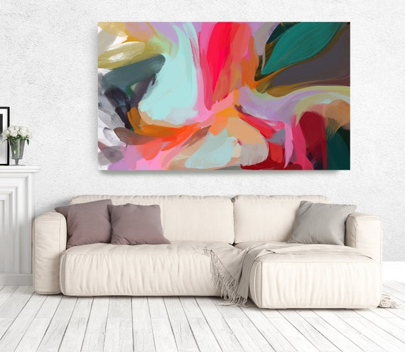 """The Color Movement 11, Abstract Painting Modern Wall Art Painting Canvas Art Print Art Modern Pink Red Blue Green up to 80"""" by Irena Orlov"""