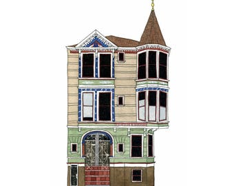 House With Turret, San Francisco - Collectible Print
