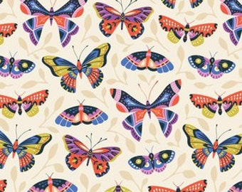 "Fabric Remnant - Butterfly in Bloom - Cloud 9 Organics - 27""x4"""