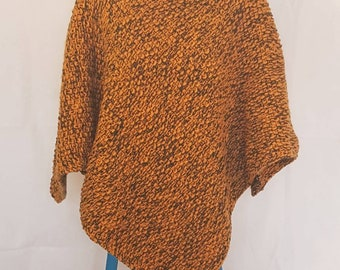 Knitted poncho in mustard yellow and olive green
