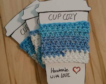 Cup Cozy, Ocean Blue Cozies, Coffee Cozy, Cup Sleeve