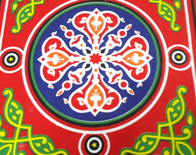 Rustic cotton by the yard red multicolor. Mandala pattern. Made in Egypt. Ethnic fabric for making tablecloth. patchwork