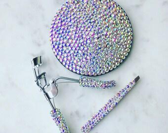 Rhinestone Crystal Compact Mirror, Tweezers, and Eyelash Curler Bundle