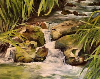 Water Landscape Oil on Canvas Painting Original Nature Art Woodland Stream Brook Oasis Peaceful