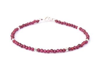 Delicate Rhodolite Garnet 925 Sterling Silver Bracelet / Skinny Stacking 3 mm Gemstone Bracelet / January Birthstone