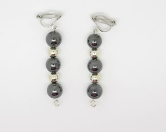 Earring clip or pierced ear hematite is silver plated