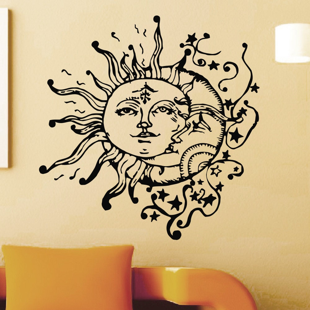 Wall Decal Vinyl Sticker Sun And Moon Crescent Ethnic Dual