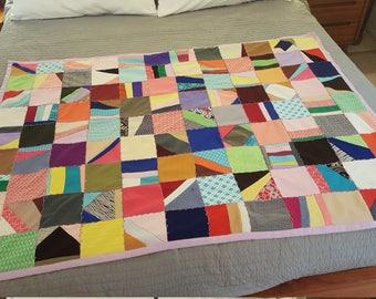 vintage patchwork quilt - polyester suit scraps - boho midcentury modern retro - picnic or lap blanket - retro picnic blanket