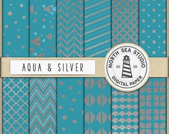 BUY 5 GET 3 FREE | Aqua Blue Digital Paper Pack | Scrapbook Paper | Printable Backgrounds | 12 Jpg, 300dpi Files | BUY5FOR8