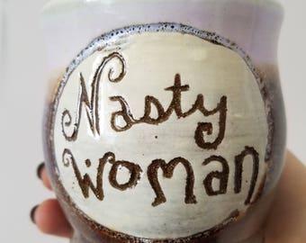 Nasty Woman Mugs - Coffee Tea Mug - Women's March - Democrat Political Feminist - Planned Parenthood, Pink Hat, Persisted - Hillary Clinton