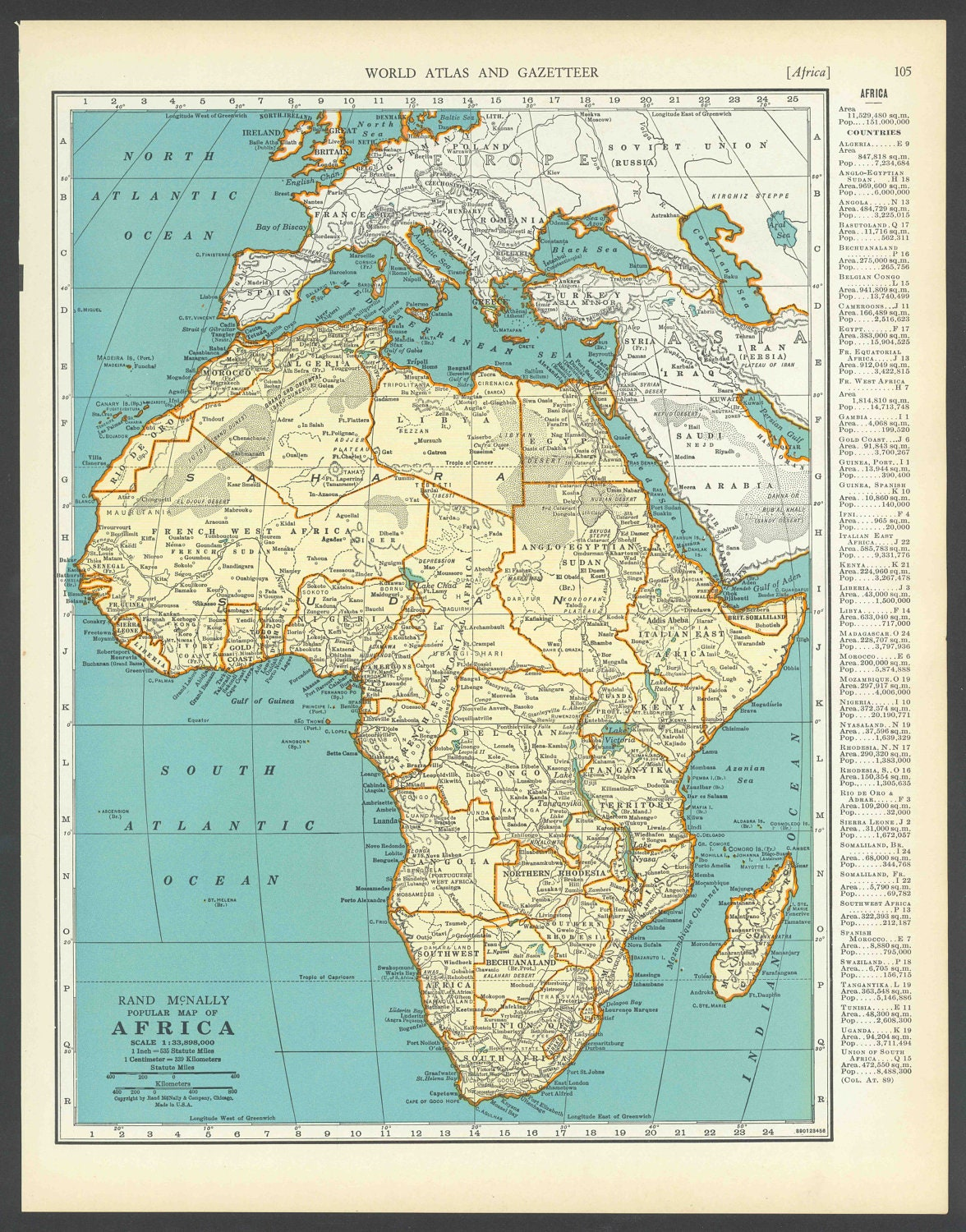 Vintage Map Africa From 1937 Original