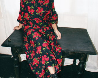 red floral robe dress