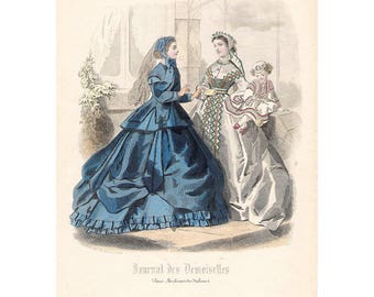 Original 1865 Parisian fashion print