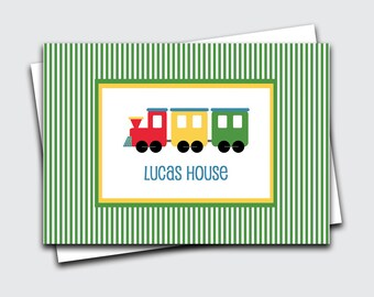 Train Fold Over Notes / Birthday Gift Thank You Notes / Personalized Kids Notecards / Choo Choo Note Cards for Boy / Stationery (1702-013FO)