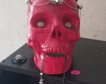 Red skull with jewels