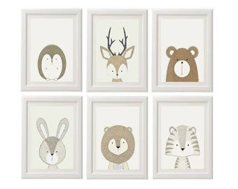 Set of 6 Gender Neutral Nursery Prints