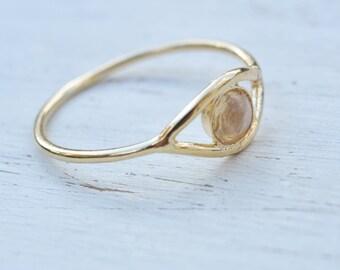 Moonstone ring,eye ring,evil eye ring,gold ring,dainty ring,moonstone ring gold or silver,evil eye jewelry