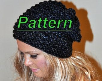Slouchy Beanie Slouchy Hat PDF PATTERN DIY Hand Knit Winter Adult Teen Midnight Black Chunky Beanie Women