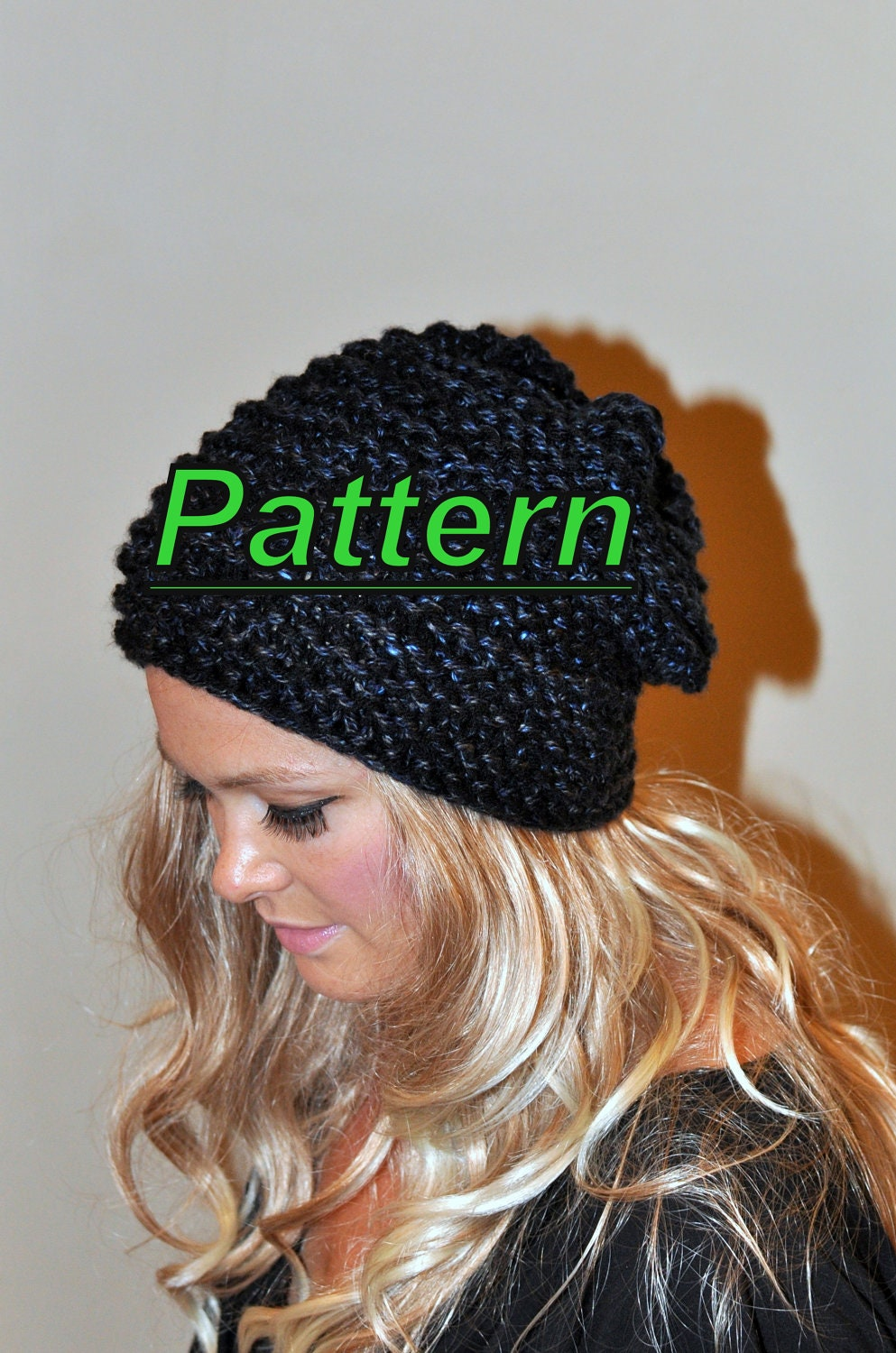 Slouchy Beanie Slouchy Hat PDF PATTERN DIY Hand Knit Winter