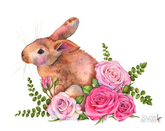 Rabbit and roses print of watercolor painting, RR11717, A3 size print, bunny print, rabbit print, rabbit watercolor, Art for nursery