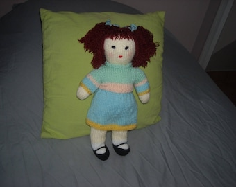 Blue wool knitted doll