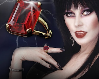 Elvira's Magic Ruby Ring, Elvira Jewelry, Mistress of the Dark, Red Crystal Ring, Vintage Ring, Gothic Ring EL_R100 - PRE ORDER