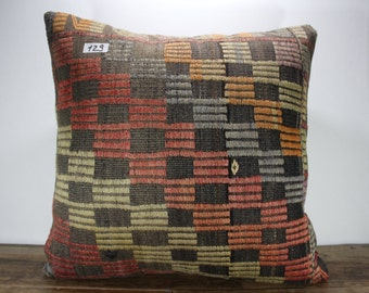 """Turkish Kilim Pillow Cover 24""""x24"""" - Decorative Pillow - Large Size Kilim Pillow - Embroidered Designs Vintage Turkish Kilim Pillow Cases"""