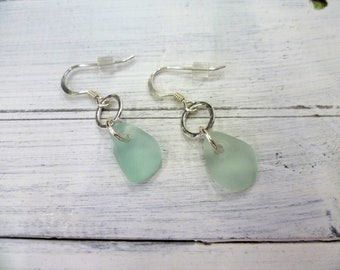 sea glass earrings - sea glass jewellery - seafoam blue - sterling silver - hammered ring - back from the beach