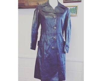 1970's blue leather spanish mod vintage jacket.