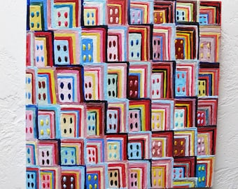 Original Encaustic Painting Geometric original encaustic beeswax painting The City abstract art