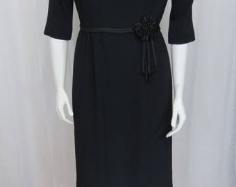 An exceptional 1950's R&K Originals black crepe dress size Small