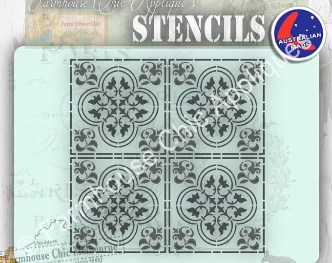 Moroccan Style Mylar Furniture Stencil, French Morocco Tile Vintage Stencil, Art Stencil, Cake Stencil, Pochoirs de meubles, Cushion Stencil