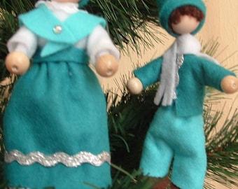 Scandnavian Christmas Elf, Tomte or Nisse (set of 2) - Aqua