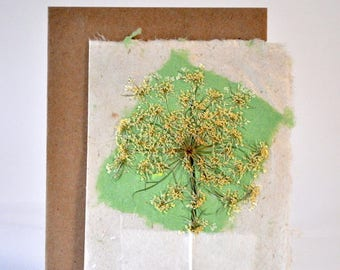 Handmade Paper--Delicate Lacey Flower on Green Diamond--Eco friendly All Occasion Card PM-QAgreen1
