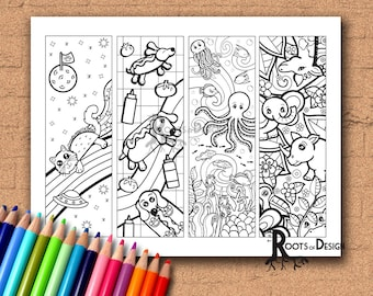 INSTANT DOWNLOAD Coloring Page - Color your own fun animal bookmarks, doodle art, printable, Coloring bookmarks