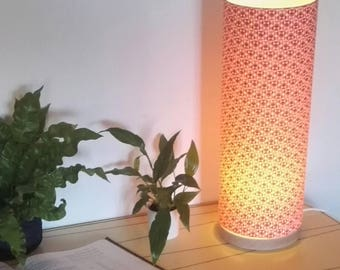 Lamp pipe 42cm print geometric coral wooden base